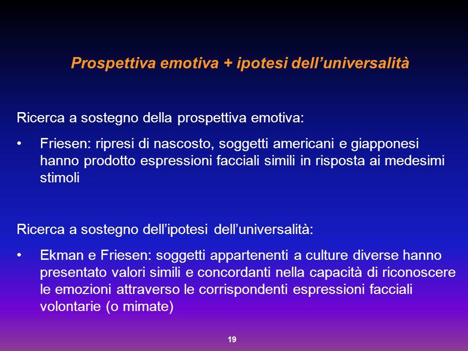 19 Prospettiva emotiva + ipotesi dell'universalità Ricerca a sostegno della prospettiva emotiva: Friesen: ripresi di nascosto, soggetti americani e gi