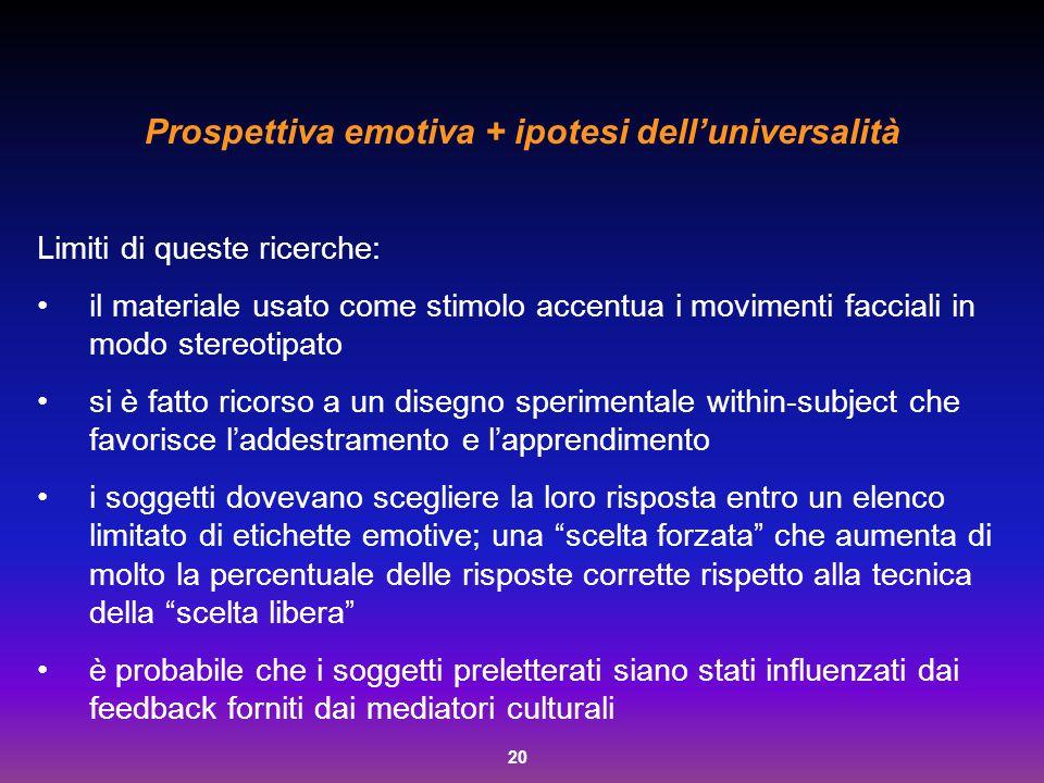20 Prospettiva emotiva + ipotesi dell'universalità Limiti di queste ricerche: il materiale usato come stimolo accentua i movimenti facciali in modo st