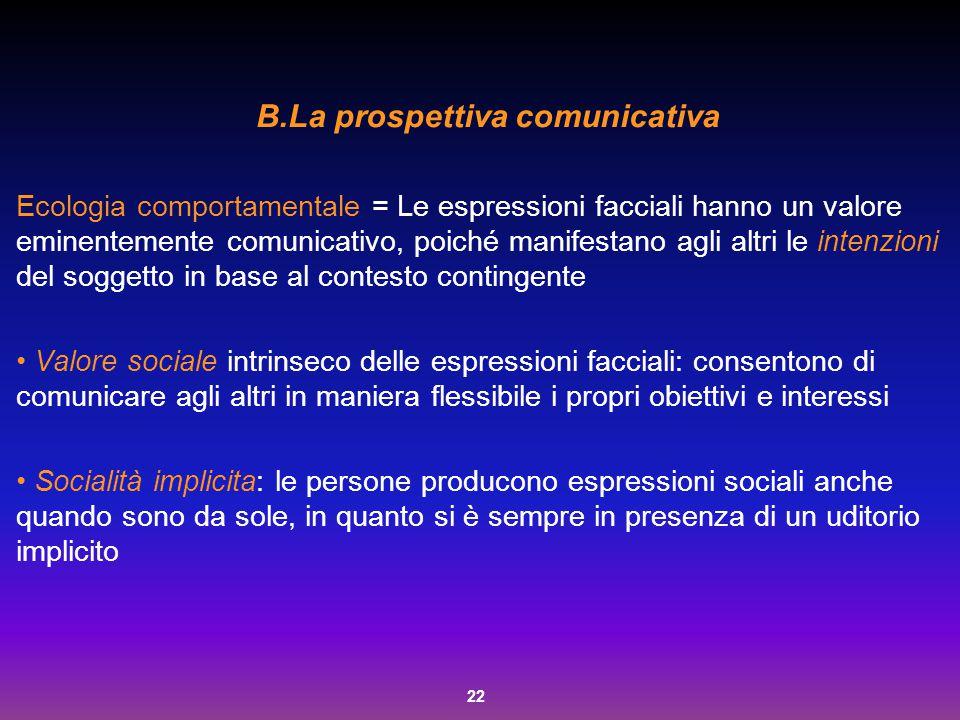 22 B.La prospettiva comunicativa Ecologia comportamentale = Le espressioni facciali hanno un valore eminentemente comunicativo, poiché manifestano agl