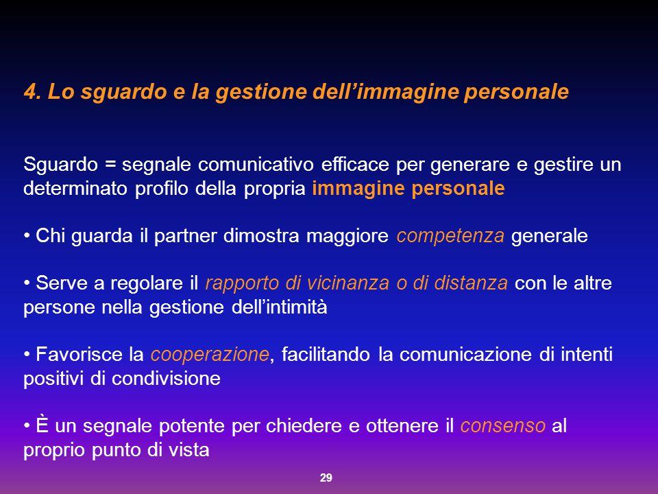 29 4. Lo sguardo e la gestione dell'immagine personale Sguardo = segnale comunicativo efficace per generare e gestire un determinato profilo della pro