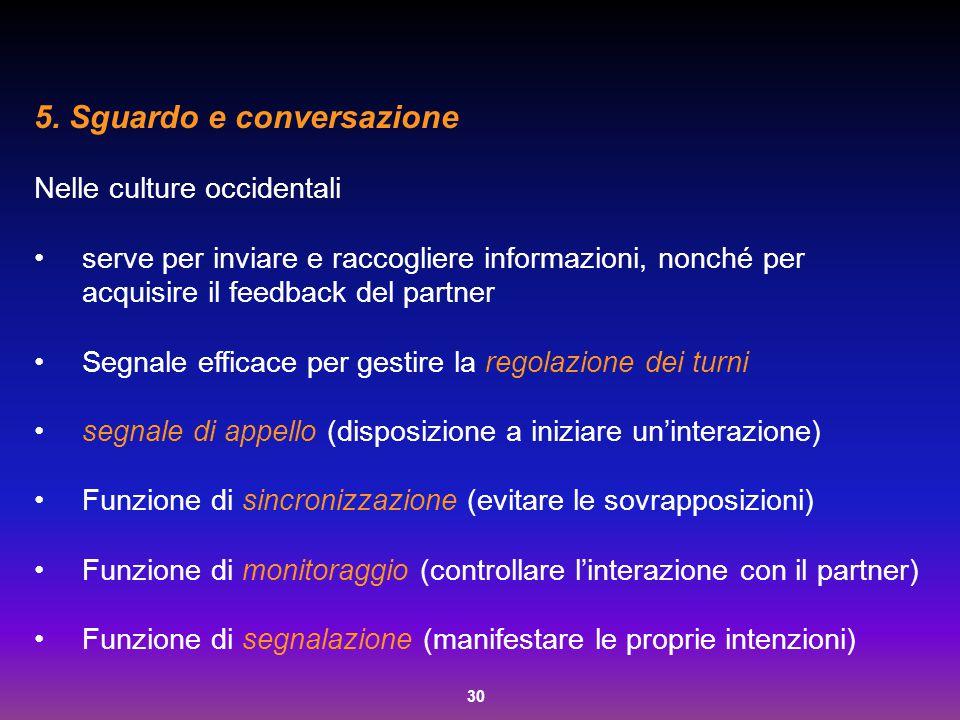 30 5. Sguardo e conversazione Nelle culture occidentali serve per inviare e raccogliere informazioni, nonché per acquisire il feedback del partner Seg