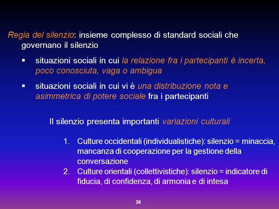 36 Regia del silenzio: insieme complesso di standard sociali che governano il silenzio  situazioni sociali in cui la relazione fra i partecipanti è i