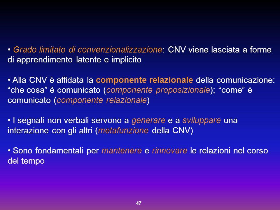 47 Grado limitato di convenzionalizzazione: CNV viene lasciata a forme di apprendimento latente e implicito Alla CNV è affidata la componente relazion