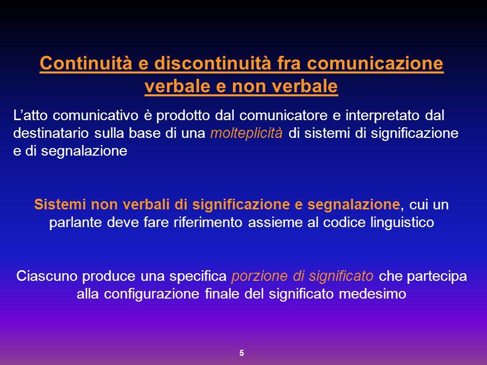 6 Il verbale non esiste senza il verbale La comunicazione verbale si è costituita sulla piattaforma non verbale di comunicazione.