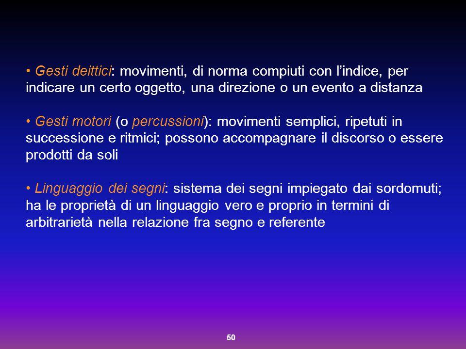 50 Gesti deittici: movimenti, di norma compiuti con l'indice, per indicare un certo oggetto, una direzione o un evento a distanza Gesti motori (o perc
