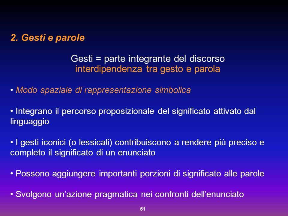 51 2. Gesti e parole Gesti = parte integrante del discorso interdipendenza tra gesto e parola Modo spaziale di rappresentazione simbolica Integrano il