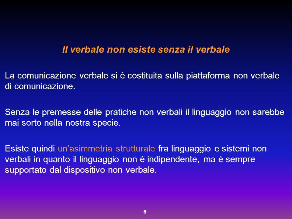 6 Il verbale non esiste senza il verbale La comunicazione verbale si è costituita sulla piattaforma non verbale di comunicazione. Senza le premesse de