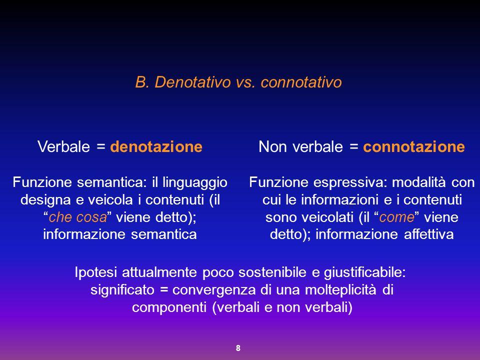 """8 B. Denotativo vs. connotativo Verbale = denotazione Funzione semantica: il linguaggio designa e veicola i contenuti (il """"che cosa"""" viene detto); inf"""