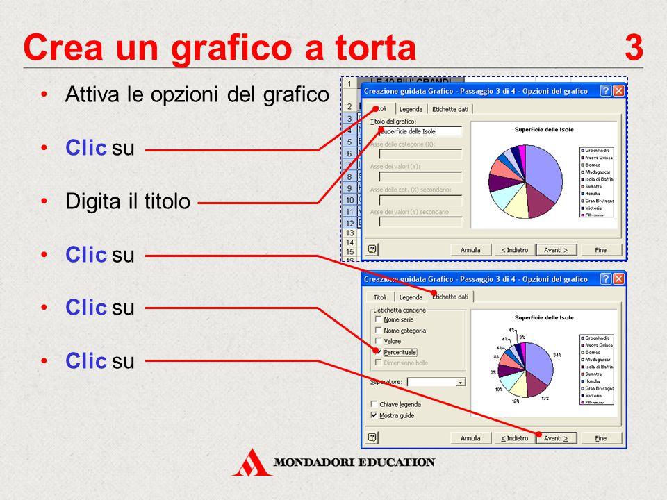 Crea un grafico a torta 4 Definisci la posizione del grafico: seleziona Crea nuovo foglio, per creare nella cartella di lavoro un foglio grafico, denominato Grafico1 seleziona Come oggetto in, per incorporare il grafico al foglio di lavoro attivo Clic su Nel foglio di lavoro appare il grafico