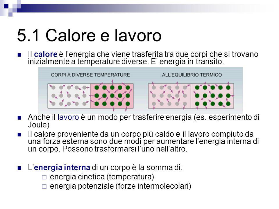5.1 Calore e lavoro Il calore è l'energia che viene trasferita tra due corpi che si trovano inizialmente a temperature diverse.