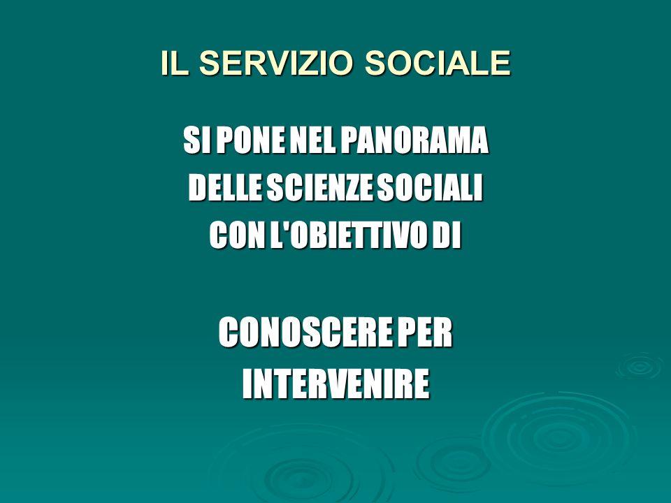 IL SERVIZIO SOCIALE SI PONE NEL PANORAMA DELLE SCIENZE SOCIALI CON L OBIETTIVO DI CONOSCERE PER INTERVENIRE