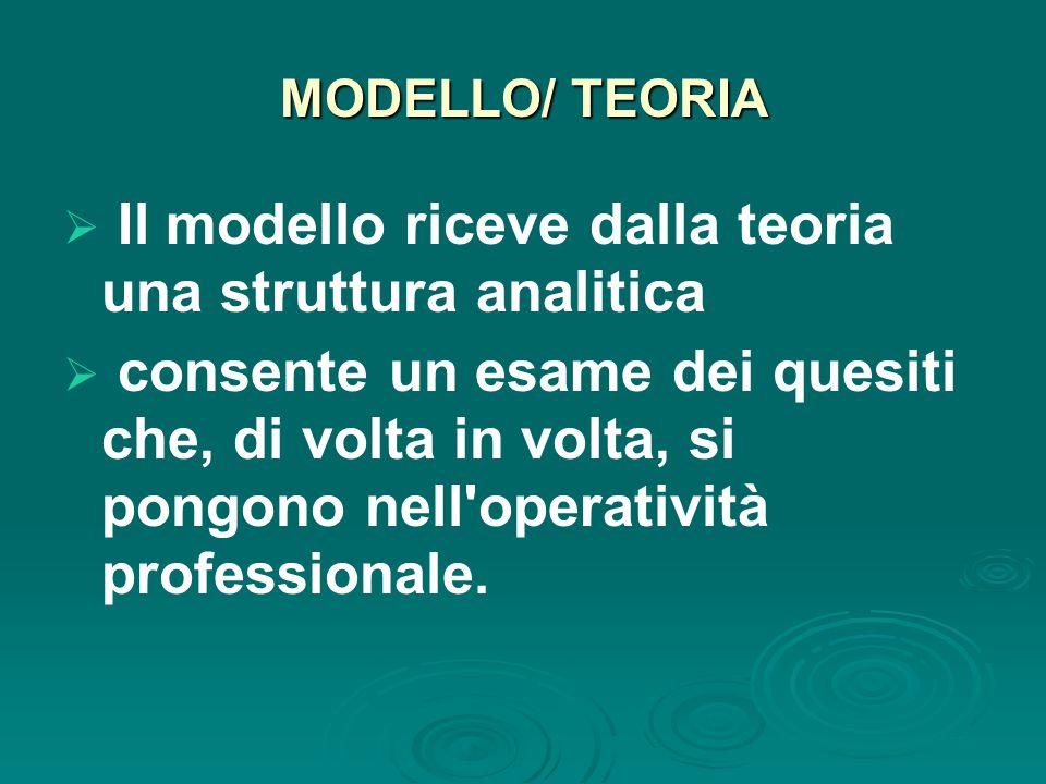 MODELLO/ TEORIA  Il modello riceve dalla teoria una struttura analitica  consente un esame dei quesiti che, di volta in volta, si pongono nell operatività professionale.
