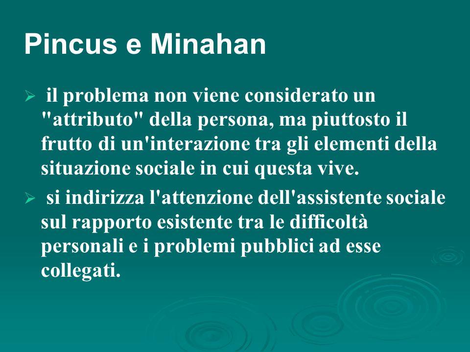 Pincus e Minahan  il problema non viene considerato un attributo della persona, ma piuttosto il frutto di un interazione tra gli elementi della situazione sociale in cui questa vive.