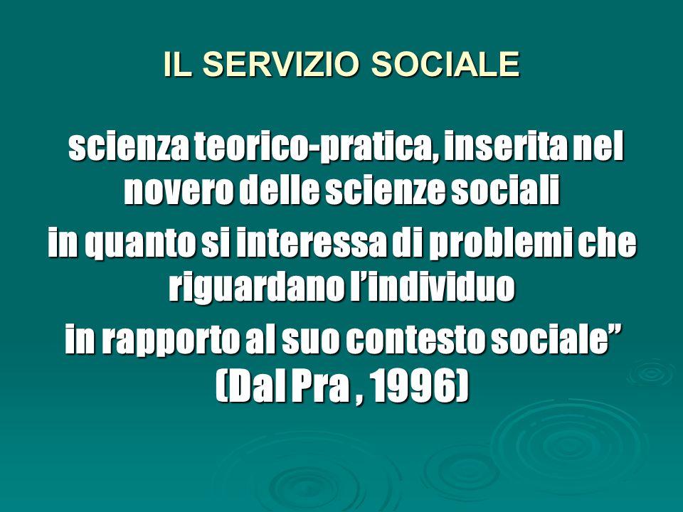 IL SERVIZIO SOCIALE scienza teorico-pratica, inserita nel novero delle scienze sociali scienza teorico-pratica, inserita nel novero delle scienze sociali in quanto si interessa di problemi che riguardano l'individuo in rapporto al suo contesto sociale (Dal Pra, 1996)