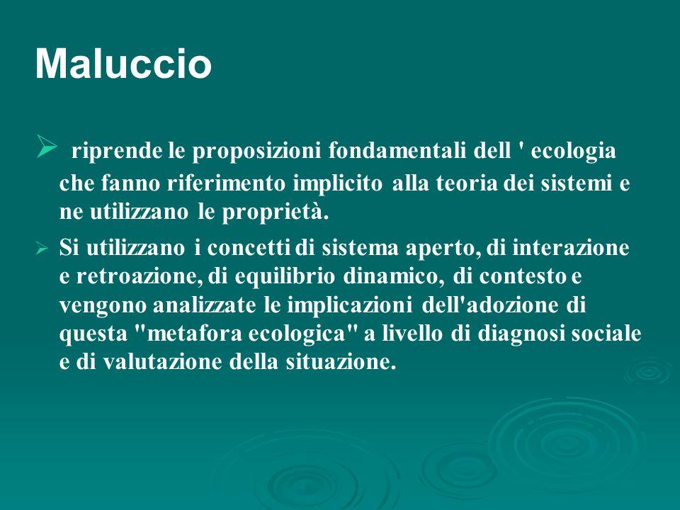 Maluccio  riprende le proposizioni fondamentali dell ecologia che fanno riferimento implicito alla teoria dei sistemi e ne utilizzano le proprietà.