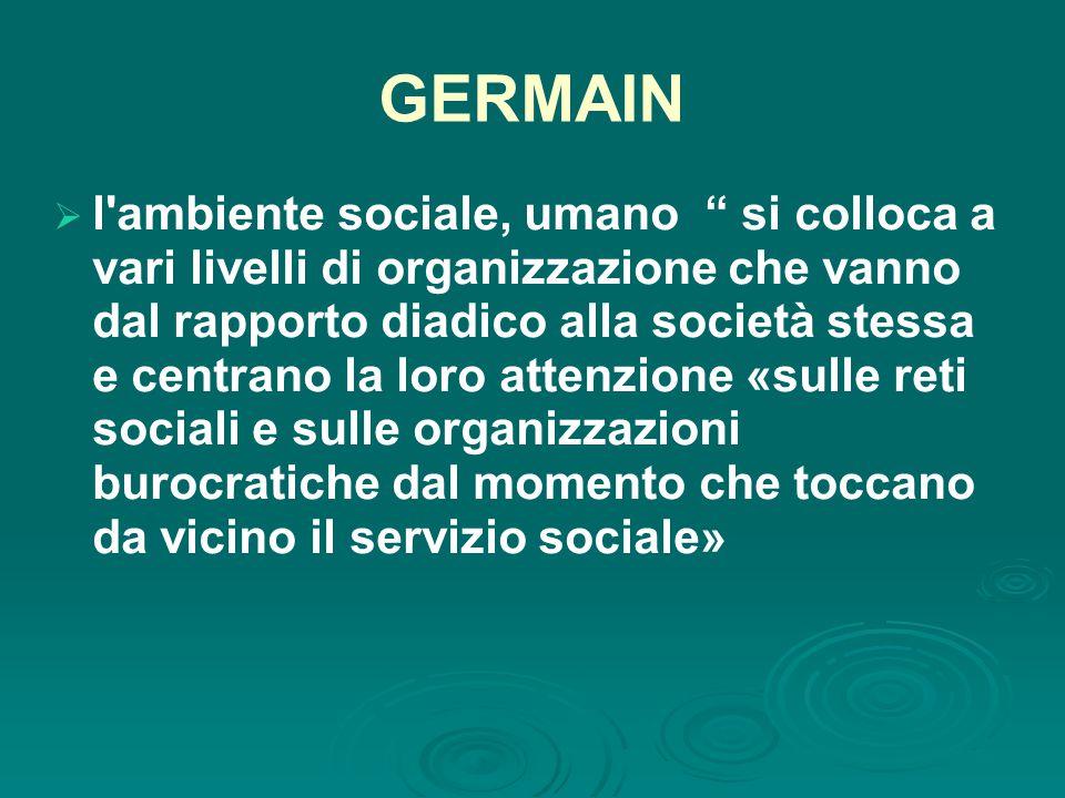 GERMAIN  l ambiente sociale, umano si colloca a vari livelli di organizzazione che vanno dal rapporto diadico alla società stessa e centrano la loro attenzione «sulle reti sociali e sulle organizzazioni burocratiche dal momento che toccano da vicino il servizio sociale»