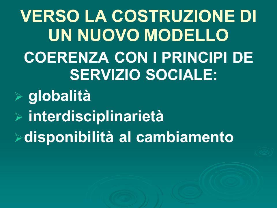 VERSO LA COSTRUZIONE DI UN NUOVO MODELLO COERENZA CON I PRINCIPI DE SERVIZIO SOCIALE:  globalità  interdisciplinarietà  disponibilità al cambiamento