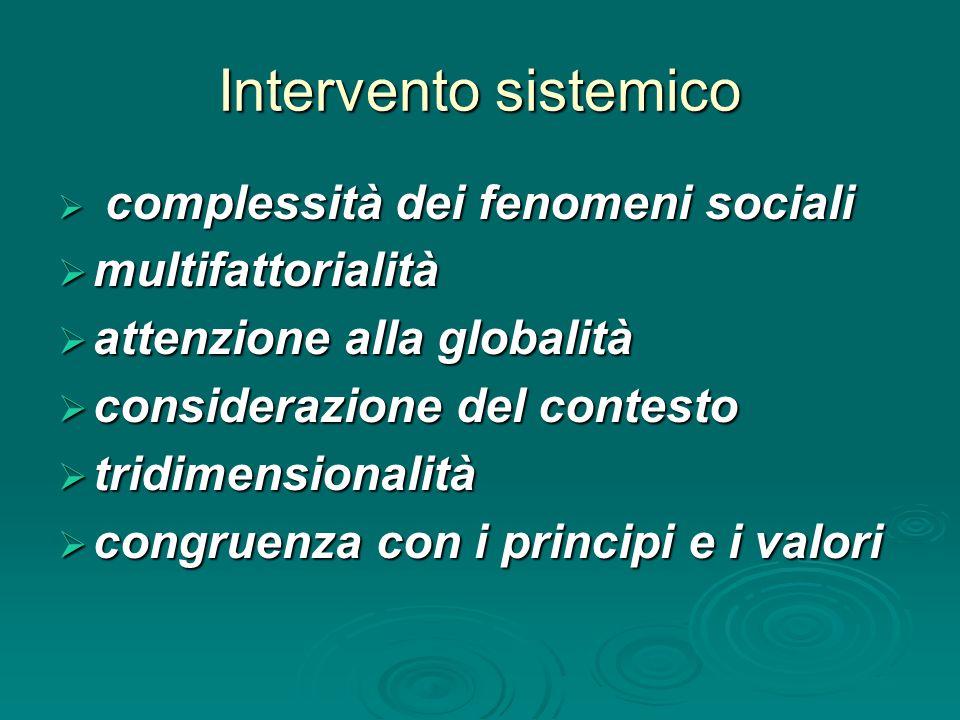 Intervento sistemico  complessità dei fenomeni sociali  multifattorialità  attenzione alla globalità  considerazione del contesto  tridimensionalità  congruenza con i principi e i valori