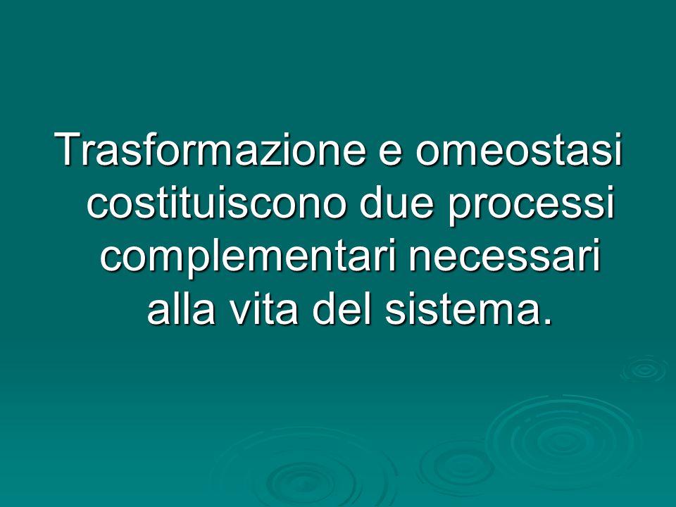 Trasformazione e omeostasi costituiscono due processi complementari necessari alla vita del sistema.