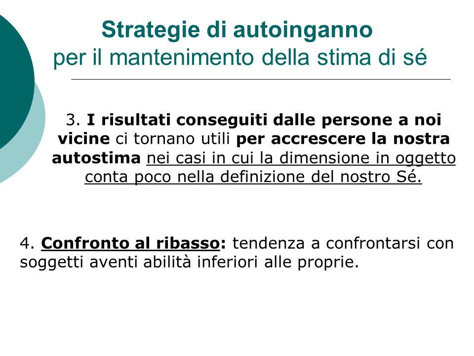 Strategie di autoinganno per il mantenimento della stima di sé 3.