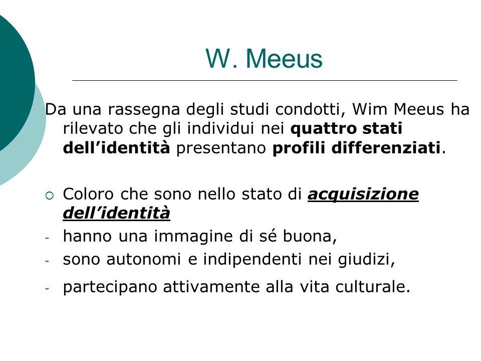 W. Meeus Da una rassegna degli studi condotti, Wim Meeus ha rilevato che gli individui nei quattro stati dell'identità presentano profili differenziat