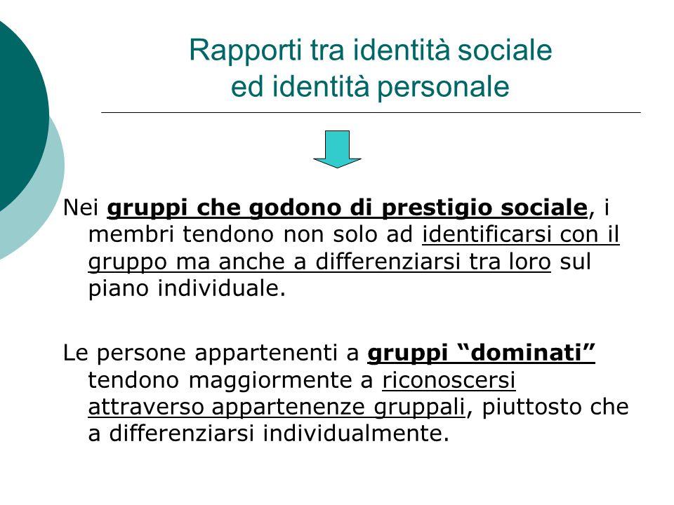 Rapporti tra identità sociale ed identità personale Nei gruppi che godono di prestigio sociale, i membri tendono non solo ad identificarsi con il gruppo ma anche a differenziarsi tra loro sul piano individuale.