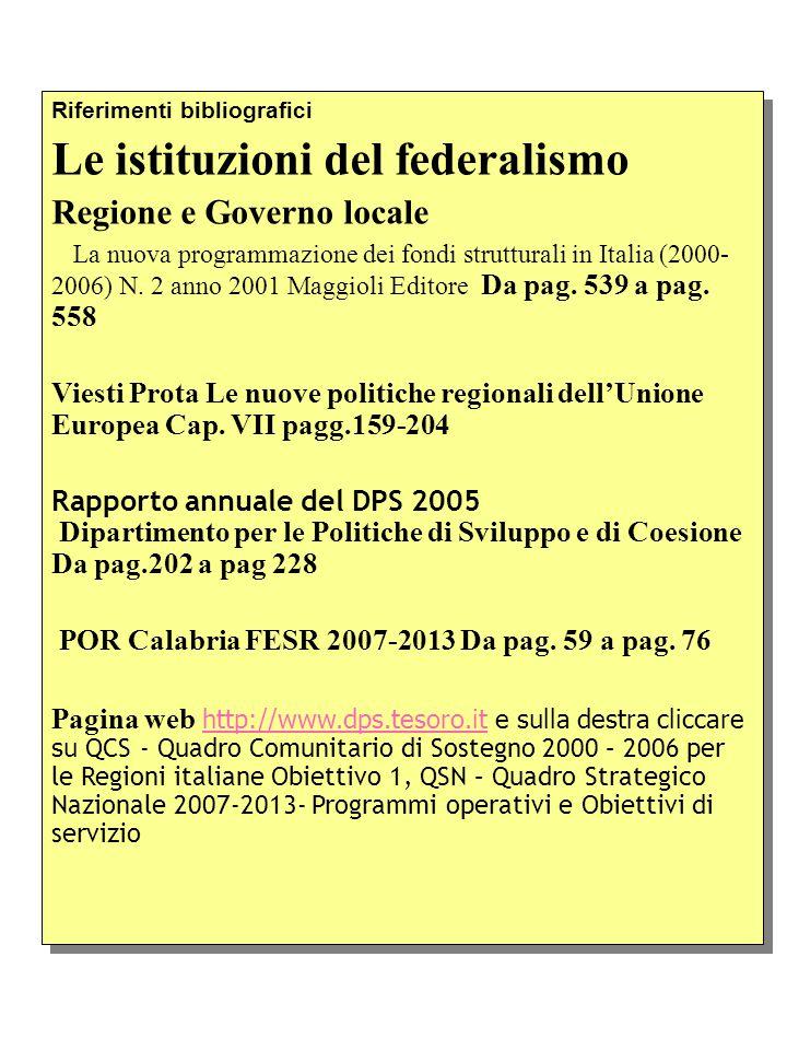 Riferimenti bibliografici Le istituzioni del federalismo Regione e Governo locale La nuova programmazione dei fondi strutturali in Italia (2000- 2006) N.