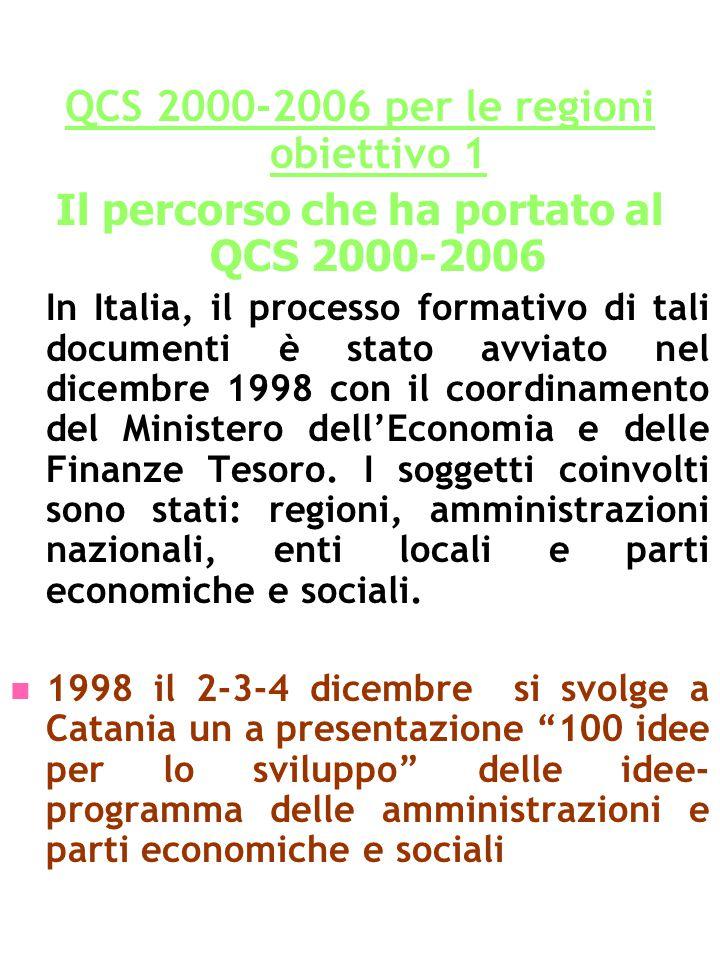 QCS 2000-2006 per le regioni obiettivo 1 Il percorso che ha portato al QCS 2000-2006 In Italia, il processo formativo di tali documenti è stato avviato nel dicembre 1998 con il coordinamento del Ministero dell'Economia e delle Finanze Tesoro.