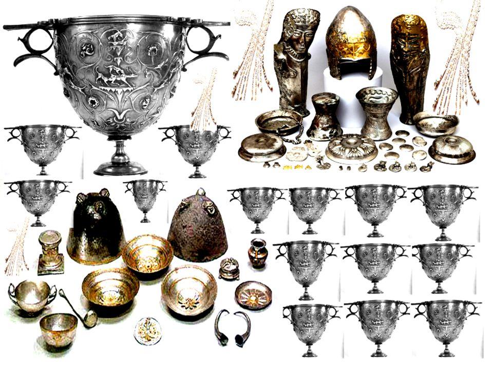 1 mulo carico di vasi d'argento