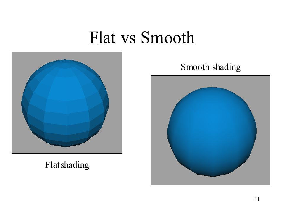 11 Flat vs Smooth Flat shading Smooth shading