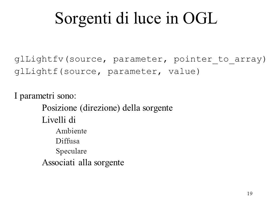 19 Sorgenti di luce in OGL glLightfv(source, parameter, pointer_to_array) glLightf(source, parameter, value) I parametri sono: Posizione (direzione) della sorgente Livelli di Ambiente Diffusa Speculare Associati alla sorgente