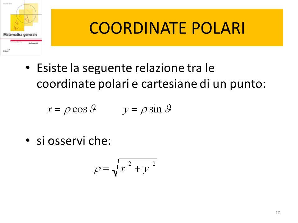 COORDINATE POLARI Esiste la seguente relazione tra le coordinate polari e cartesiane di un punto: si osservi che: 10