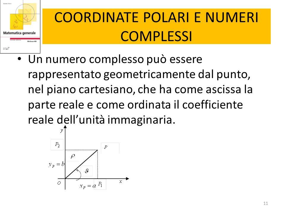 COORDINATE POLARI E NUMERI COMPLESSI Un numero complesso può essere rappresentato geometricamente dal punto, nel piano cartesiano, che ha come ascissa