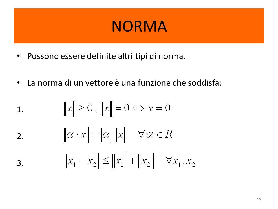 19 NORMA Possono essere definite altri tipi di norma. La norma di un vettore è una funzione che soddisfa: 1. 2. 3.