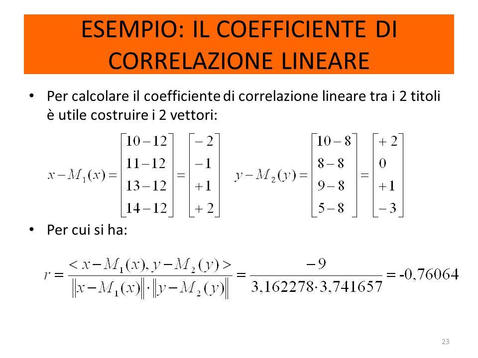 23 ESEMPIO: IL COEFFICIENTE DI CORRELAZIONE LINEARE Per calcolare il coefficiente di correlazione lineare tra i 2 titoli è utile costruire i 2 vettori