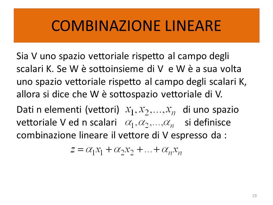 COMBINAZIONE LINEARE Sia V uno spazio vettoriale rispetto al campo degli scalari K. Se W è sottoinsieme di V e W è a sua volta uno spazio vettoriale r
