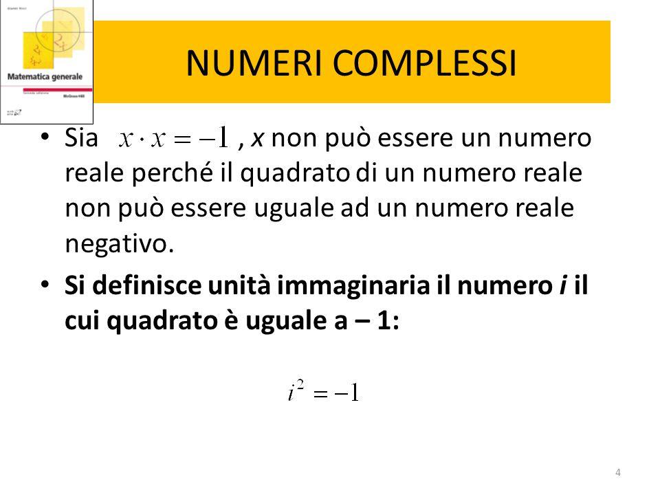 NUMERI COMPLESSI Un numero non reale (complesso) z può essere scritto nel seguente modo: L'insieme dei numeri complessi viene indicato con C e risulta chiuso rispetto alle operazioni algebriche di somma, differenza, prodotto e divisione.