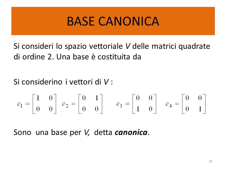 BASE CANONICA Si consideri lo spazio vettoriale V delle matrici quadrate di ordine 2. Una base è costituita da Si considerino i vettori di V : Sono un