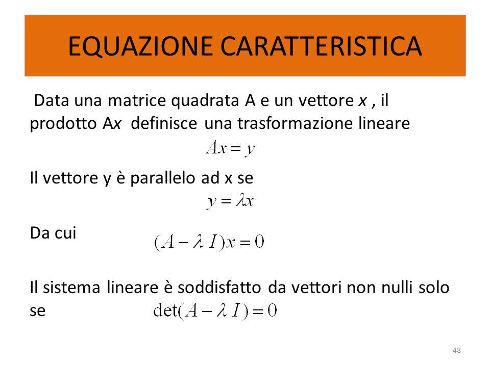 EQUAZIONE CARATTERISTICA Data una matrice quadrata A e un vettore x, il prodotto Ax definisce una trasformazione lineare Il vettore y è parallelo ad x