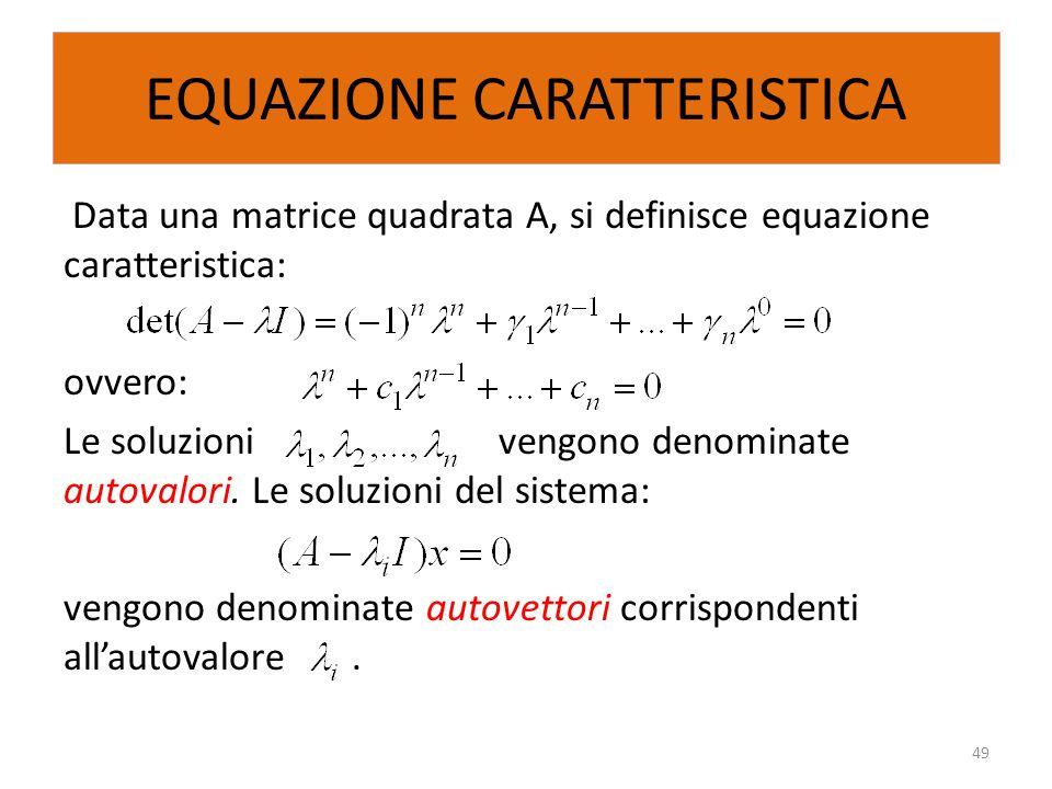 EQUAZIONE CARATTERISTICA Data una matrice quadrata A, si definisce equazione caratteristica: ovvero: Le soluzioni vengono denominate autovalori. Le so