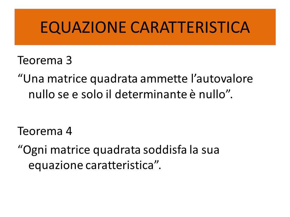 """Teorema 3 """"Una matrice quadrata ammette l'autovalore nullo se e solo il determinante è nullo"""". Teorema 4 """"Ogni matrice quadrata soddisfa la sua equazi"""