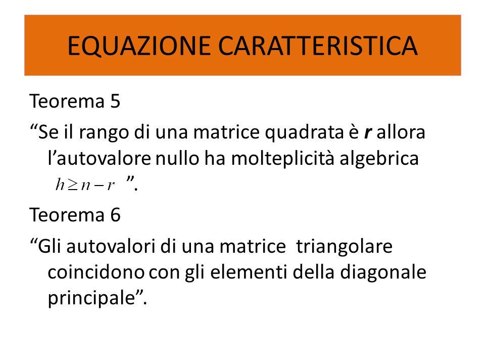 """Teorema 5 """"Se il rango di una matrice quadrata è r allora l'autovalore nullo ha molteplicità algebrica """". Teorema 6 """"Gli autovalori di una matrice tri"""