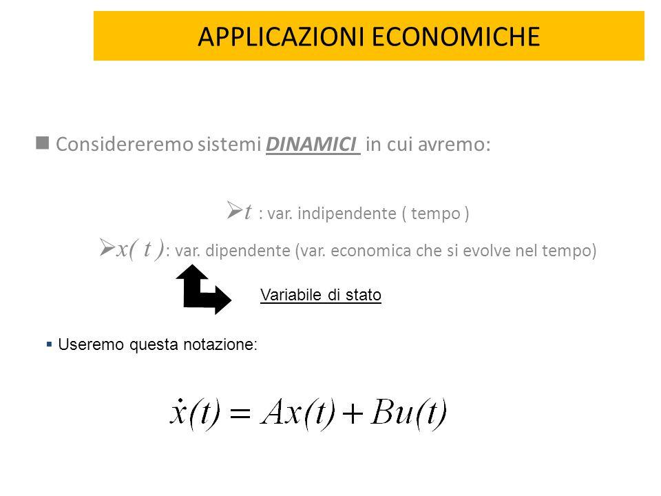 APPLICAZIONI ECONOMICHE DINAMICI Considereremo sistemi DINAMICI in cui avremo:  t : var. indipendente ( tempo )  x( t ) : var. dipendente (var. econ
