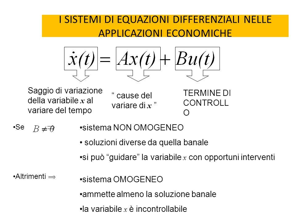 """I SISTEMI DI EQUAZIONI DIFFERENZIALI NELLE APPLICAZIONI ECONOMICHE Saggio di variazione della variabile x al variare del tempo """" cause del variare di"""