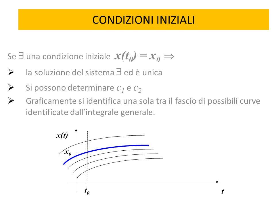CONDIZIONI INIZIALI Se  una condizione iniziale x(t 0 ) = x 0   la soluzione del sistema  ed è unica  Si possono determinare c 1 e c 2  Graficam