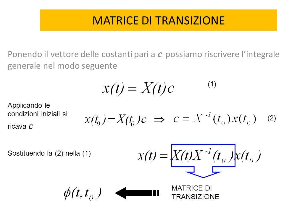 MATRICE DI TRANSIZIONE Ponendo il vettore delle costanti pari a c possiamo riscrivere l'integrale generale nel modo seguente Applicando le condizioni