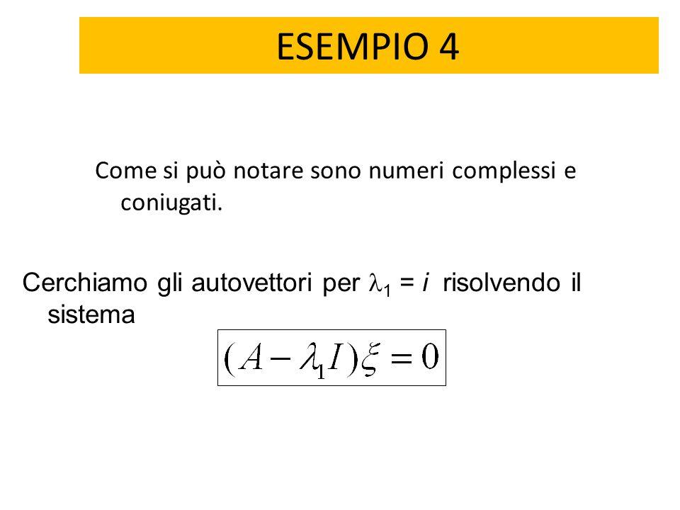 ESEMPIO 4 Come si può notare sono numeri complessi e coniugati. Cerchiamo gli autovettori per 1 = i risolvendo il sistema
