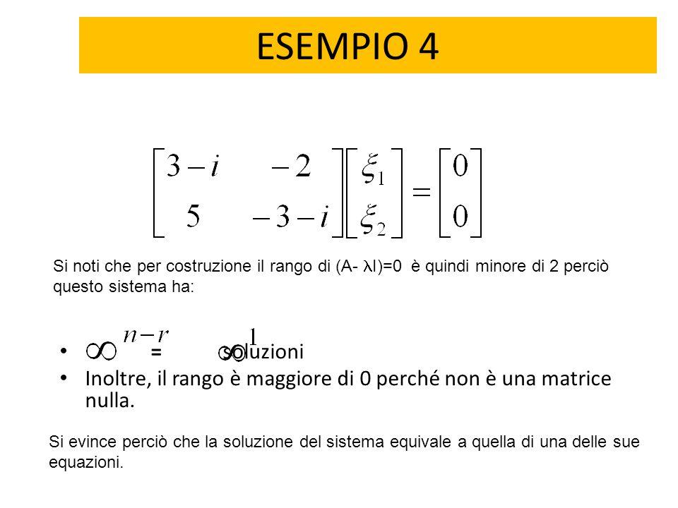 ESEMPIO 4 = soluzioni Inoltre, il rango è maggiore di 0 perché non è una matrice nulla. Si noti che per costruzione il rango di (A- I)=0 è quindi mino