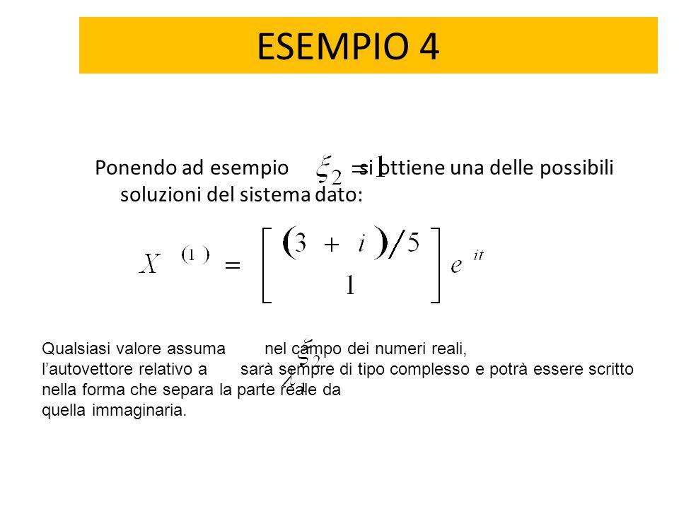 ESEMPIO 4 Ponendo ad esempio si ottiene una delle possibili soluzioni del sistema dato: Qualsiasi valore assuma nel campo dei numeri reali, l'autovett