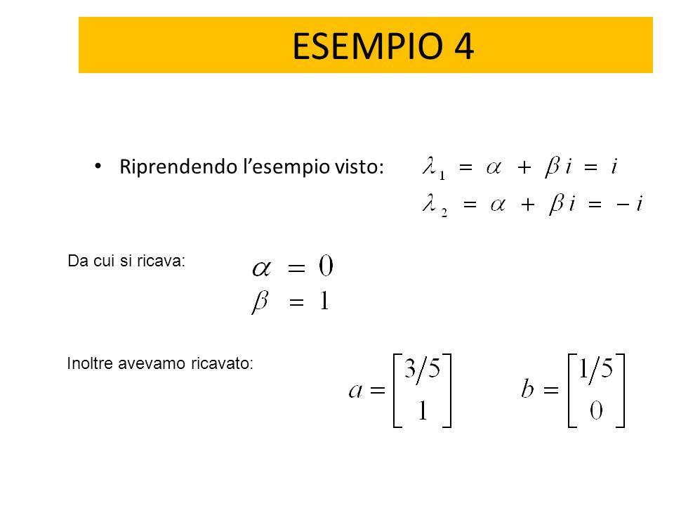 ESEMPIO 4 Riprendendo l'esempio visto: Da cui si ricava: Inoltre avevamo ricavato: